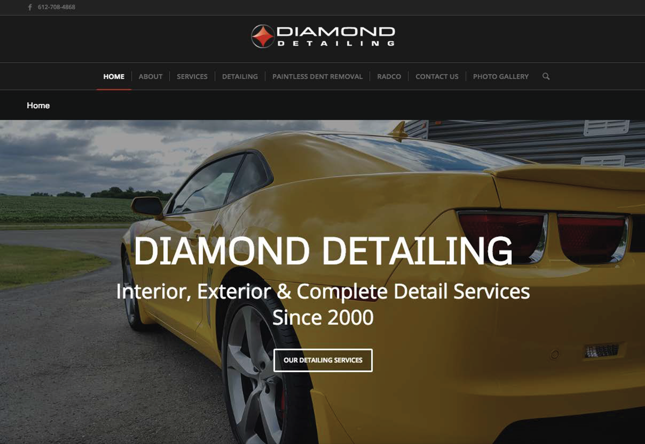 Diamond Detailing Website by Wojack Hendrickson Design