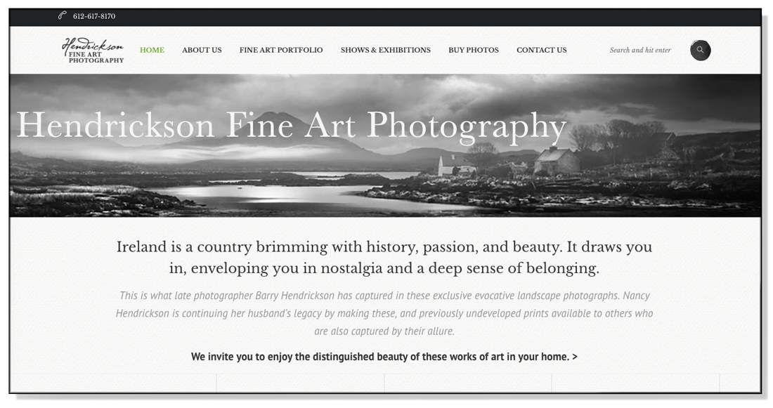Hendrickson Fine Art Photography web design by Wojack Design