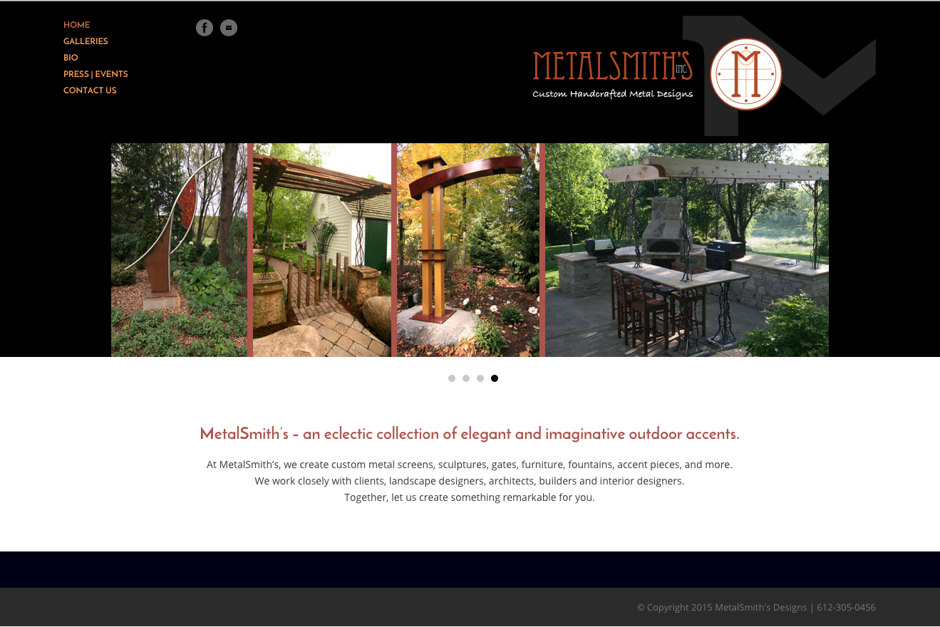 MetalSmith's web design by Wojack Hendrickson Design